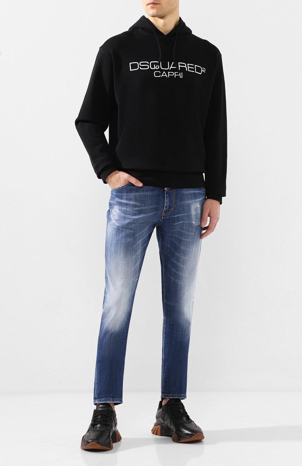 Мужской хлопковое худи DSQUARED2 черно-белого цвета, арт. S74GU0409/S25305 | Фото 2