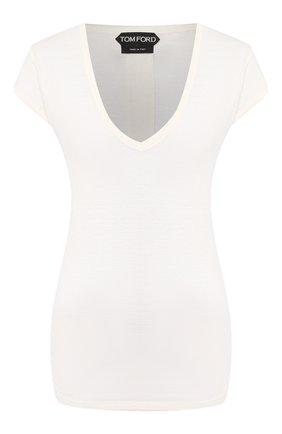 Женская льняная футболка TOM FORD белого цвета, арт. TSJ320-FAX609   Фото 1
