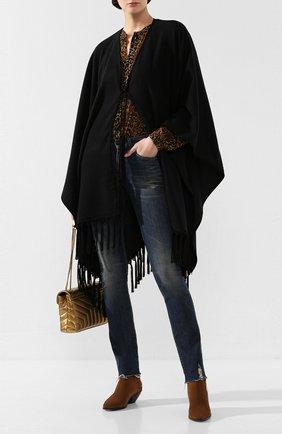 Женская кашемировое пончо SAINT LAURENT черного цвета, арт. 613060/3YB35 | Фото 2