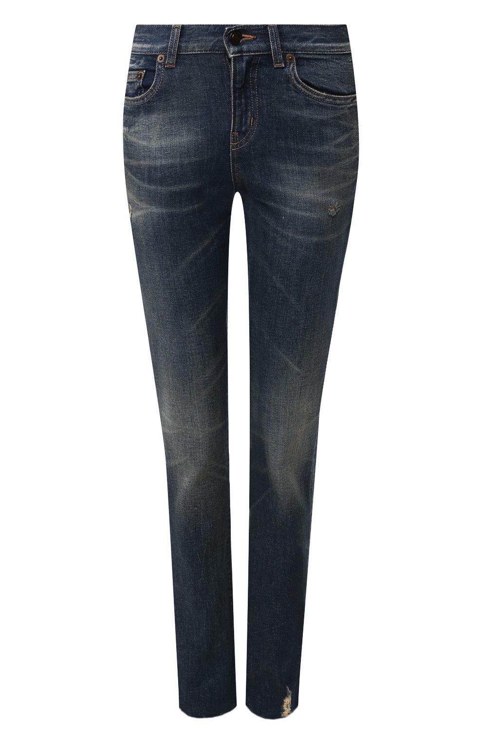 Женские джинсы SAINT LAURENT синего цвета, арт. 602816/YD993 | Фото 1