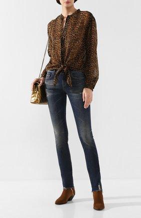 Женские джинсы SAINT LAURENT синего цвета, арт. 602816/YD993 | Фото 2