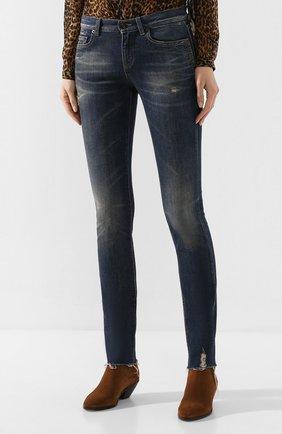 Женские джинсы SAINT LAURENT синего цвета, арт. 602816/YD993 | Фото 3