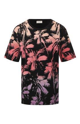 Женская хлопковая футболка SAINT LAURENT черного цвета, арт. 601518/YB0Z2 | Фото 1