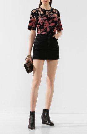 Женская хлопковая футболка SAINT LAURENT черного цвета, арт. 601518/YB0Z2 | Фото 2