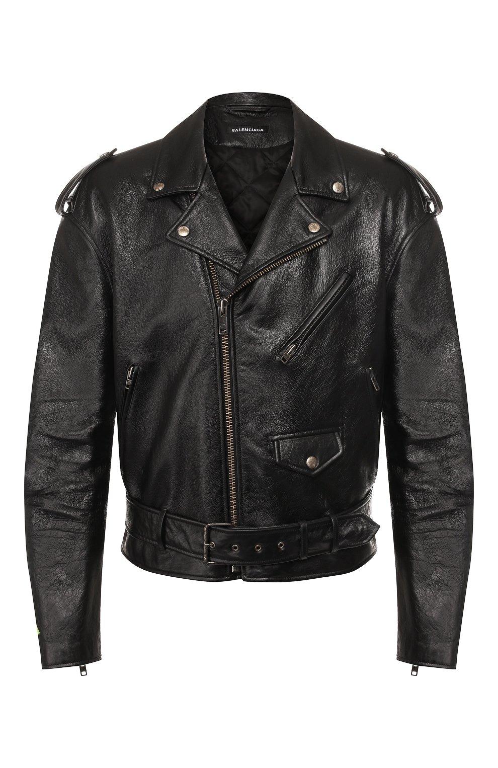 Мужская кожаная куртка BALENCIAGA черного цвета, арт. 507398/TES24   Фото 1