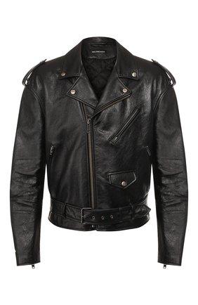 Мужская кожаная куртка BALENCIAGA черного цвета, арт. 507398/TES24 | Фото 1