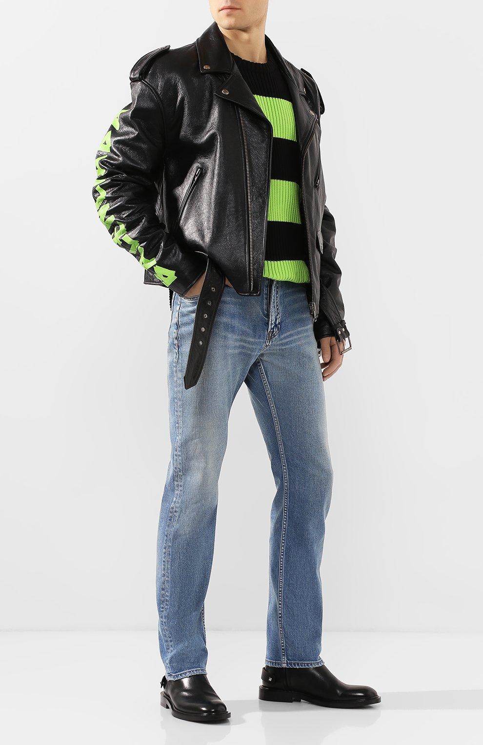 Мужская кожаная куртка BALENCIAGA черного цвета, арт. 507398/TES24   Фото 2