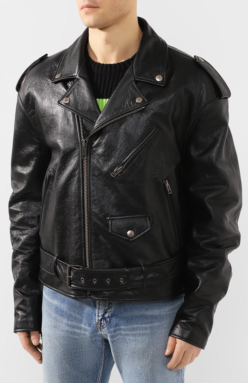 Мужская кожаная куртка BALENCIAGA черного цвета, арт. 507398/TES24   Фото 3