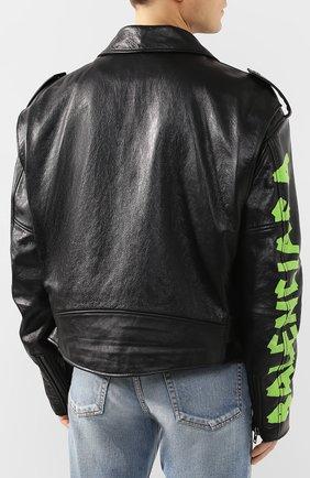 Мужская кожаная куртка BALENCIAGA черного цвета, арт. 507398/TES24   Фото 4