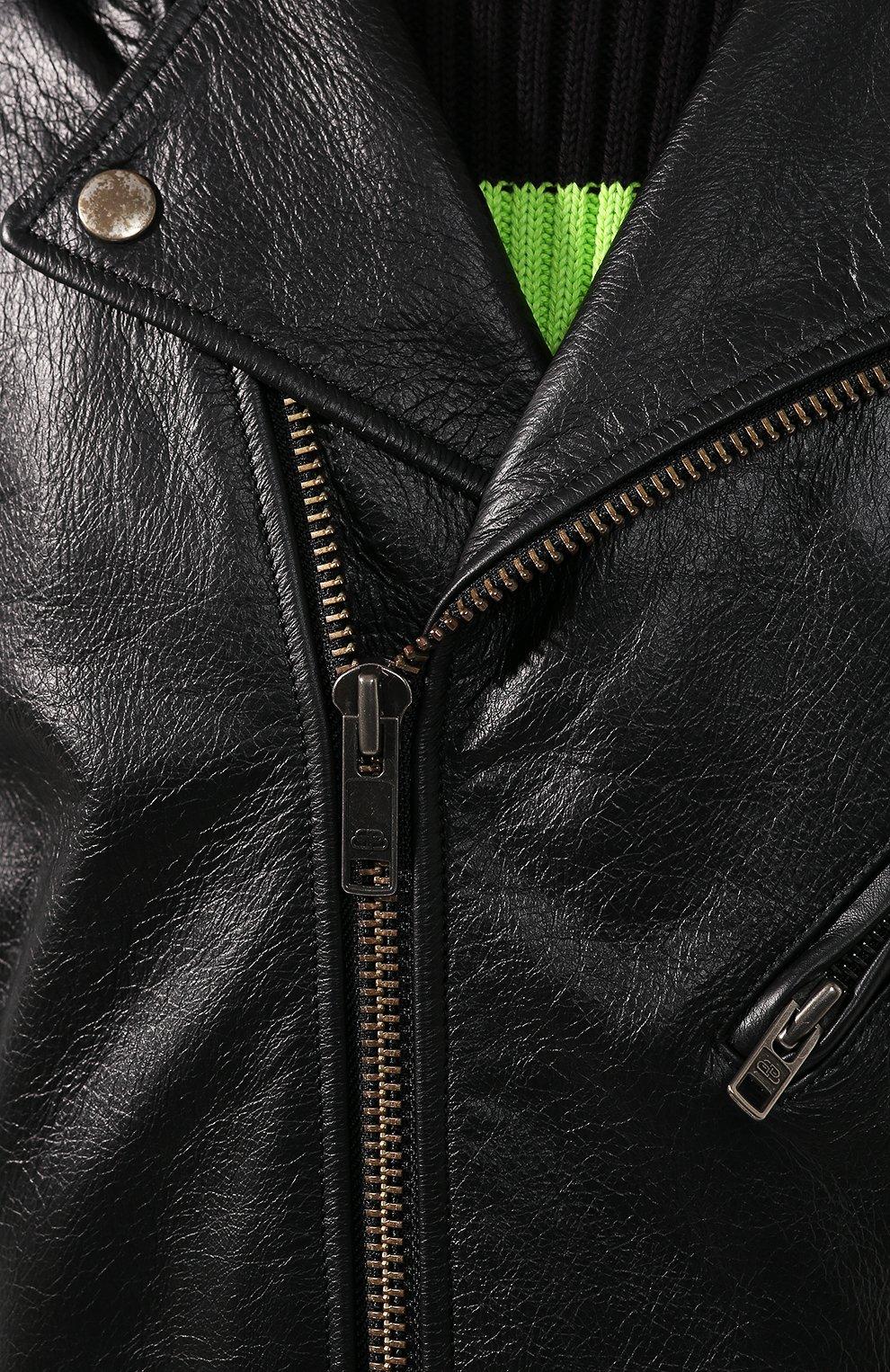 Мужская кожаная куртка BALENCIAGA черного цвета, арт. 507398/TES24   Фото 5