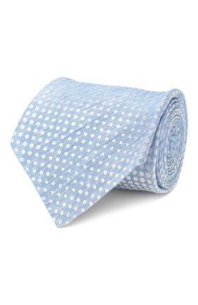 Мужской галстук из смеси шелка и льна KITON голубого цвета, арт. UCRVKLC02G84 | Фото 1