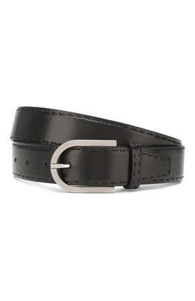 Мужской кожаный ремень KITON черного цвета, арт. USC185PN00101 | Фото 1
