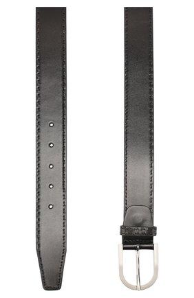 Мужской кожаный ремень KITON черного цвета, арт. USC185PN00101 | Фото 2