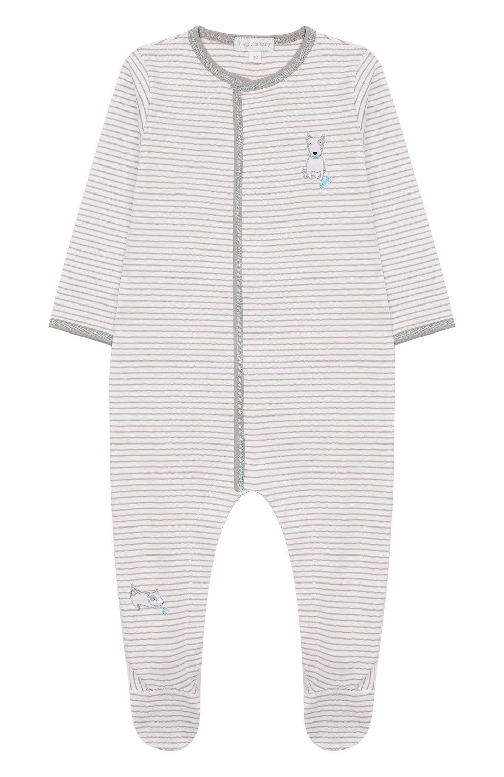 Детский хлопковый комбинезон MAGNOLIA BABY серого цвета, арт. 563-22-LB   Фото 1 (Рукава: Длинные; Материал внешний: Хлопок)