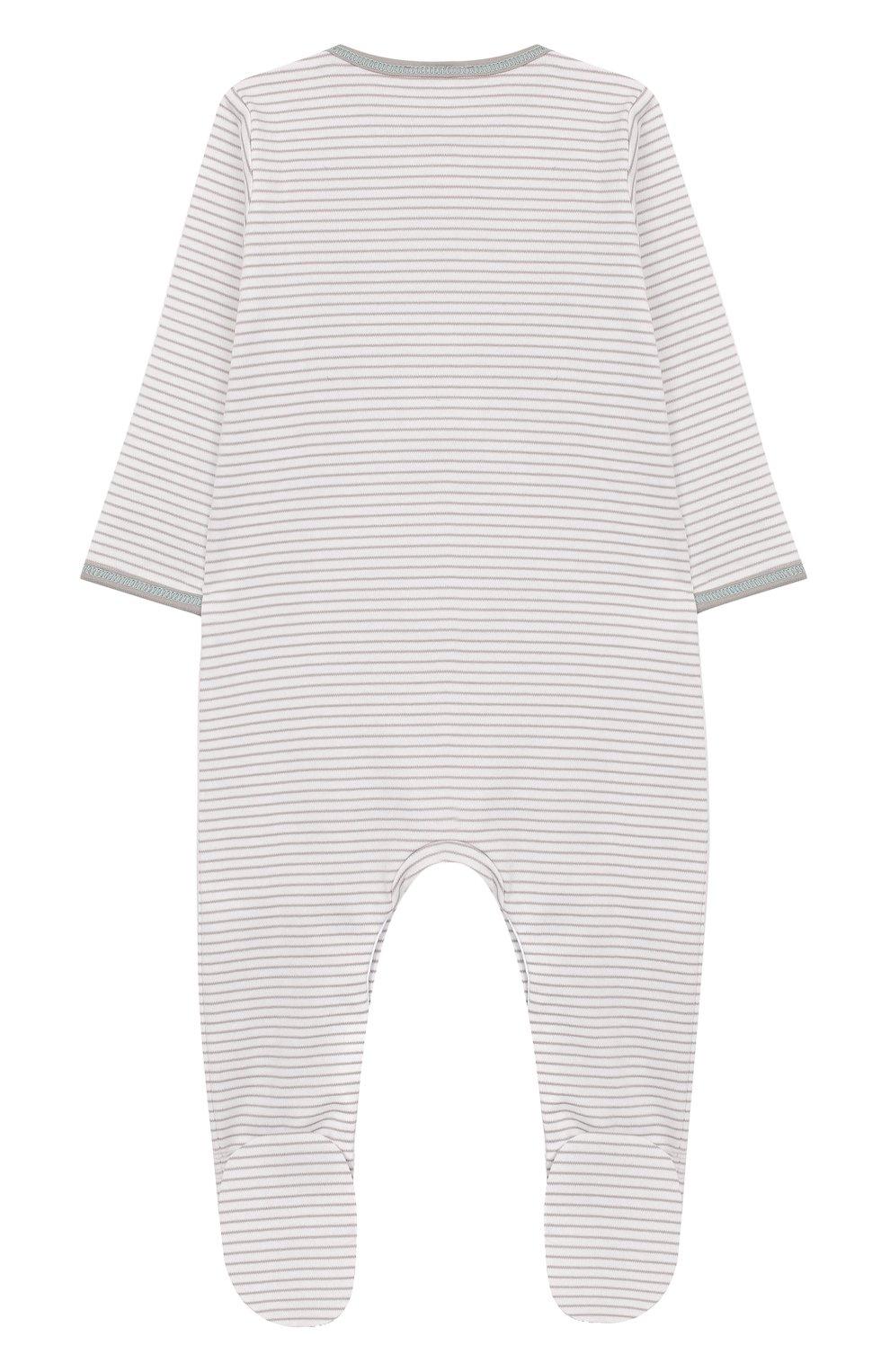Детский хлопковый комбинезон MAGNOLIA BABY серого цвета, арт. 563-22-LB   Фото 2 (Рукава: Длинные; Материал внешний: Хлопок)