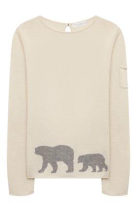 Детский кашемировый пуловер OSCAR ET VALENTINE бежевого цвета, арт. PUL01BEARL | Фото 1