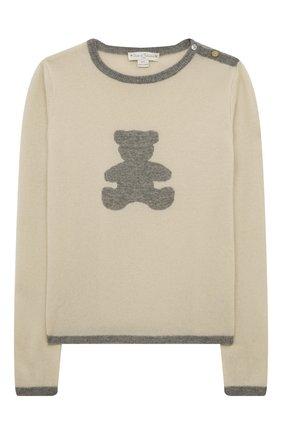 Детский кашемировый пуловер OSCAR ET VALENTINE бежевого цвета, арт. PULBEAR1L | Фото 1
