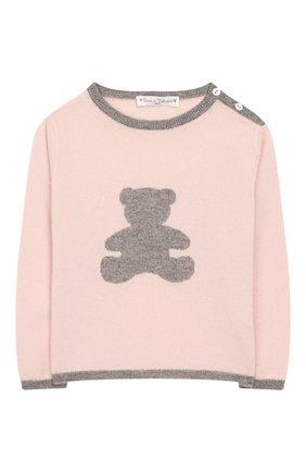 Детский кашемировый пуловер OSCAR ET VALENTINE розового цвета, арт. PULBEAR1M | Фото 1