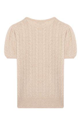 Детский кашемировый пуловер OSCAR ET VALENTINE бежевого цвета, арт. PUL05L | Фото 2