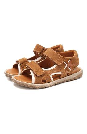 Детские замшевые сандалии RONDINELLA коричневого цвета, арт. 0767-4B/5552/28-30 | Фото 1