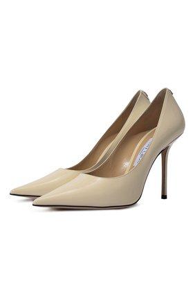 Женская кожаные туфли love 100 JIMMY CHOO кремвого цвета, арт. L0VE 100/PWJ | Фото 1