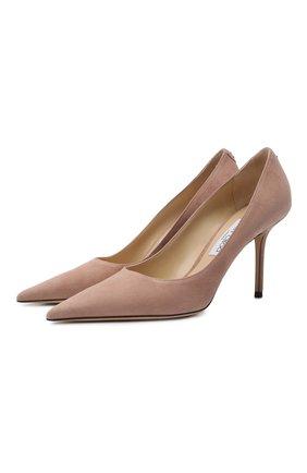 Женские замшевые туфли love 85 JIMMY CHOO светло-розового цвета, арт. L0VE 85/BWJ | Фото 1