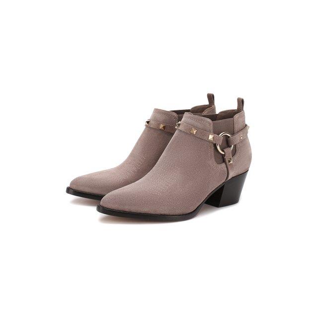 Замшевые ботинки Valentino Garavani Rockstud Valentino