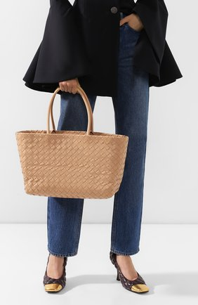 Женская сумка-тоут BOTTEGA VENETA светло-розового цвета, арт. 600504/VCPP1 | Фото 2