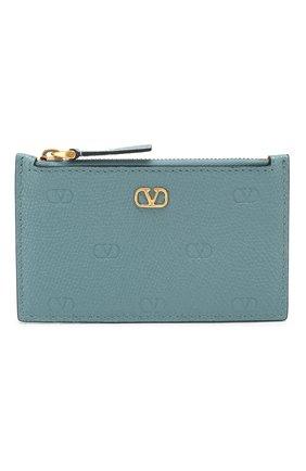Женский кожаный футляр для кредитных карт valentino garavani VALENTINO бирюзового цвета, арт. TW2P0S76/GFP | Фото 1