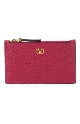 Женский кожаный футляр для кредитных карт valentino garavani VALENTINO фуксия цвета, арт. TW2P0S76/GFP | Фото 1