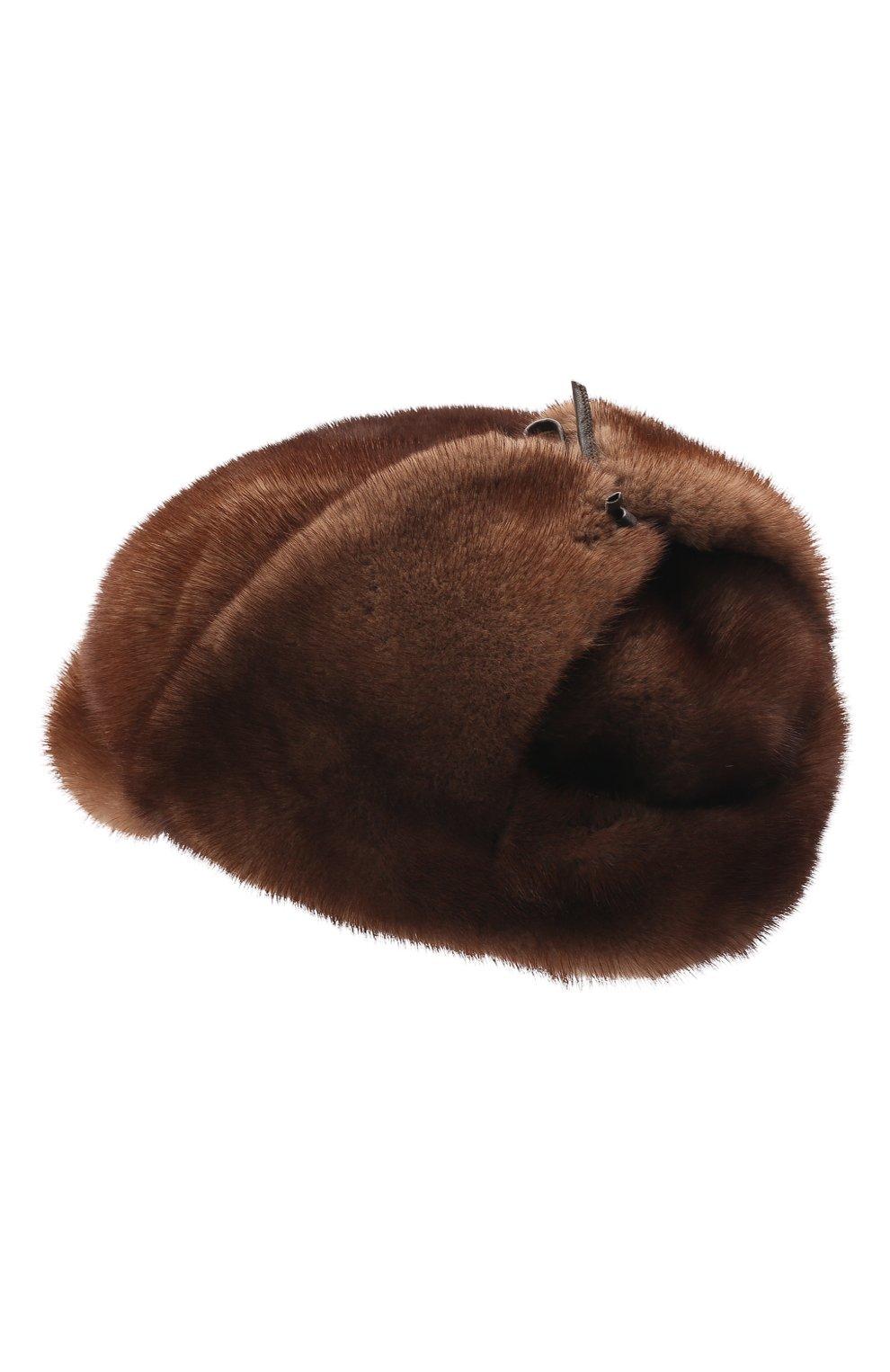 Мужская кепка из меха норки FURLAND коричневого цвета, арт. 0076802110089300000 | Фото 2