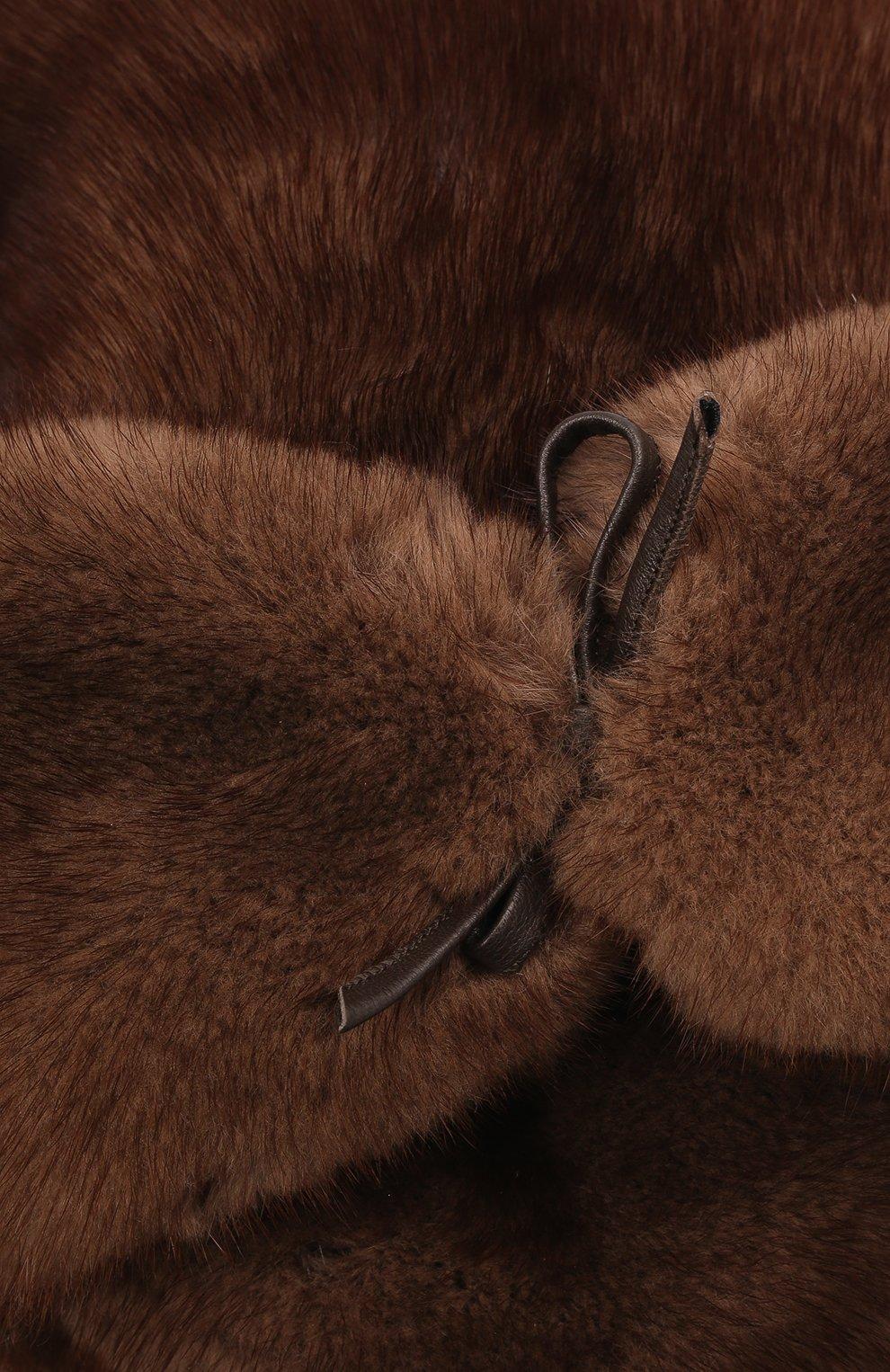Мужская кепка из меха норки FURLAND коричневого цвета, арт. 0076802110089300000 | Фото 3