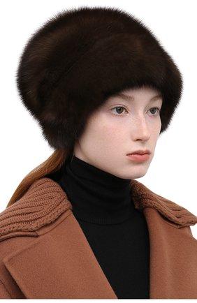 Женская шапка из меха норки KUSSENKOVV коричневого цвета, арт. 063500003679   Фото 2 (Материал: Натуральный мех; Статус проверки: Проверена категория)