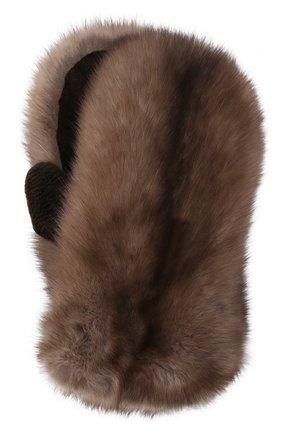 Мужские варежки из меха норки и соболя KUSSENKOVV коричневого цвета, арт. 173610205102 | Фото 1