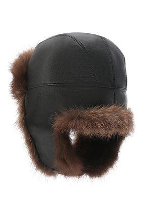 Мужская шапка-ушанка из меха фишера KUSSENKOVV черного цвета, арт. 338506949158 | Фото 2