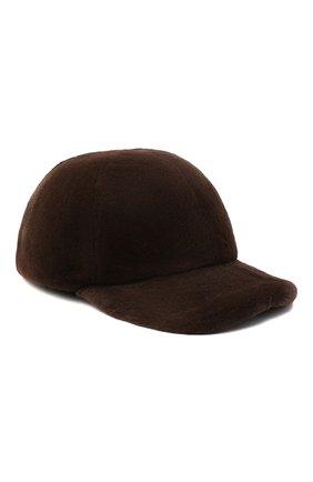 Мужской бейсболка из меха норки KUSSENKOVV коричневого цвета, арт. 380510003003 | Фото 1