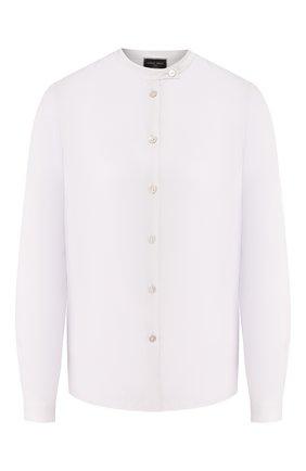 Женская шелковая рубашка GIORGIO ARMANI серого цвета, арт. 9CHCCZ80/TZ448   Фото 1 (Материал внешний: Шелк; Рукава: Длинные; Длина (для топов): Стандартные; Принт: Без принта; Женское Кросс-КТ: Рубашка-одежда; Статус проверки: Проверена категория)