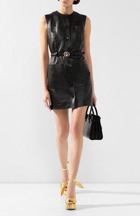 Женское кожаное платье GUCCI черного цвета, арт. 599065/XNAH0 | Фото 2
