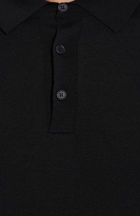 Мужское шерстяное поло BOTTEGA VENETA темно-синего цвета, арт. 606654/VKN60 | Фото 5 (Застежка: Пуговицы; Материал внешний: Шерсть; Рукава: Длинные; Длина (для топов): Стандартные; Кросс-КТ: Трикотаж; Статус проверки: Проверена категория)