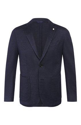Мужской пиджак из смеси льна и хлопка L.B.M. 1911 темно-синего цвета, арт. 2817/05754 | Фото 1