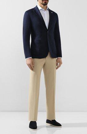 Мужской пиджак из смеси льна и хлопка L.B.M. 1911 темно-синего цвета, арт. 2817/05754 | Фото 2