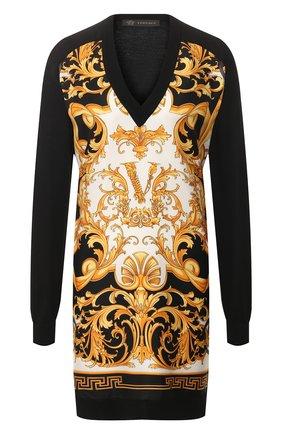 Женская пуловер из смеси шелка и хлопка VERSACE черного цвета, арт. A85515/A233111 | Фото 1
