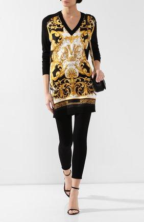 Женская пуловер из смеси шелка и хлопка VERSACE черного цвета, арт. A85515/A233111 | Фото 2