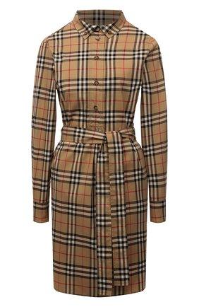 Женское хлопковое платье BURBERRY бежевого цвета, арт. 8024585 | Фото 1