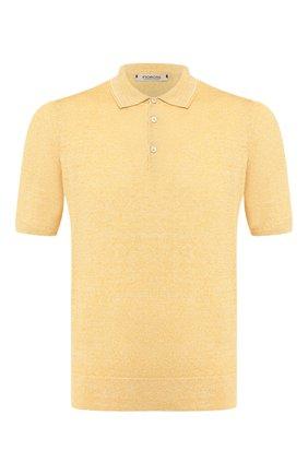 Мужское поло из смеси льна и хлопка FIORONI желтого цвета, арт. MK20701C1 | Фото 1