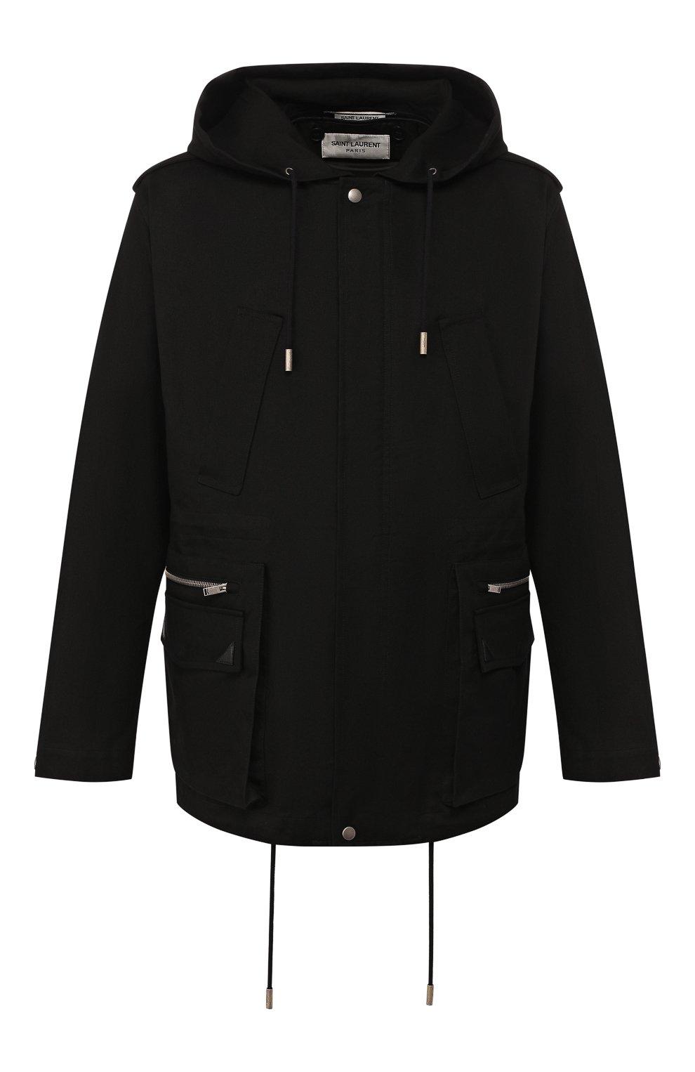 Мужская хлопковая куртка SAINT LAURENT черного цвета, арт. 605940/Y253Q | Фото 1