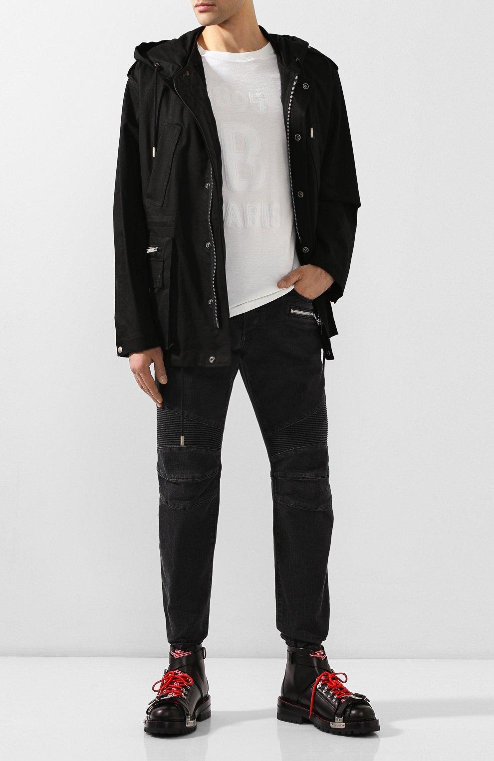 Мужская хлопковая куртка SAINT LAURENT черного цвета, арт. 605940/Y253Q | Фото 2