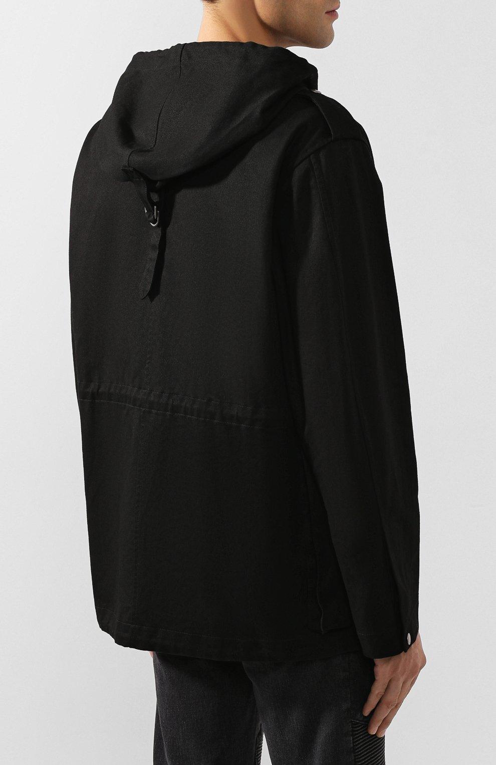 Мужская хлопковая куртка SAINT LAURENT черного цвета, арт. 605940/Y253Q | Фото 4