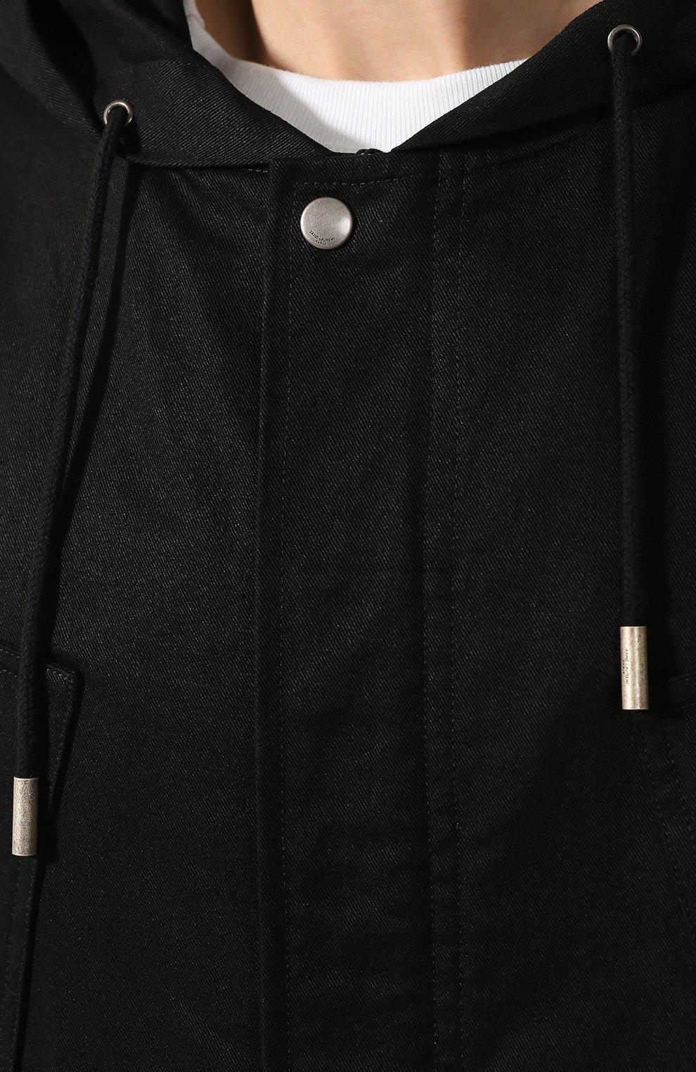 Мужская хлопковая куртка SAINT LAURENT черного цвета, арт. 605940/Y253Q | Фото 5