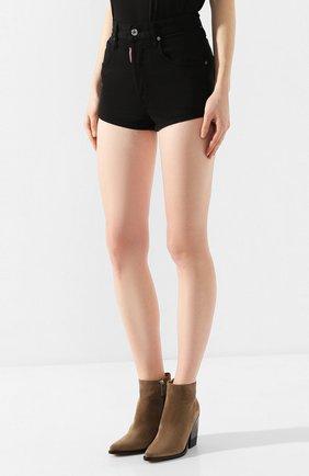 Женские джинсовые шорты DSQUARED2 черного цвета, арт. S80MU0002/S39781 | Фото 3